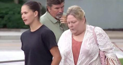 Pamela Taylor walks into court on Thursday