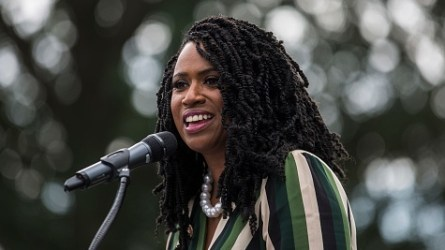 Rep. Ayanna Pressley at rally, September 2019
