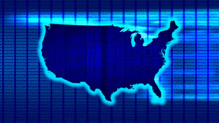 Binary code overlays a map of the United States.