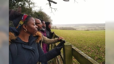 Beth Collier and other gazing at the English countryside.