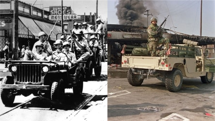 National guard during the Detroit and Los Angeles riots