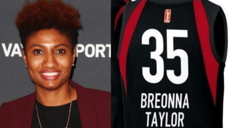 Angel McCoughtry and a mockup of the jerseys