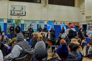 A NeighborhoodStat meeting in New York City public housing.
