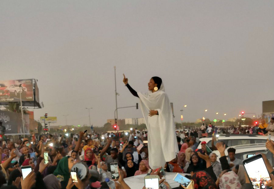 Viral Photo Captures 22-Year-Old Engineering Student Leading Sudanese Protest Against Nation's President