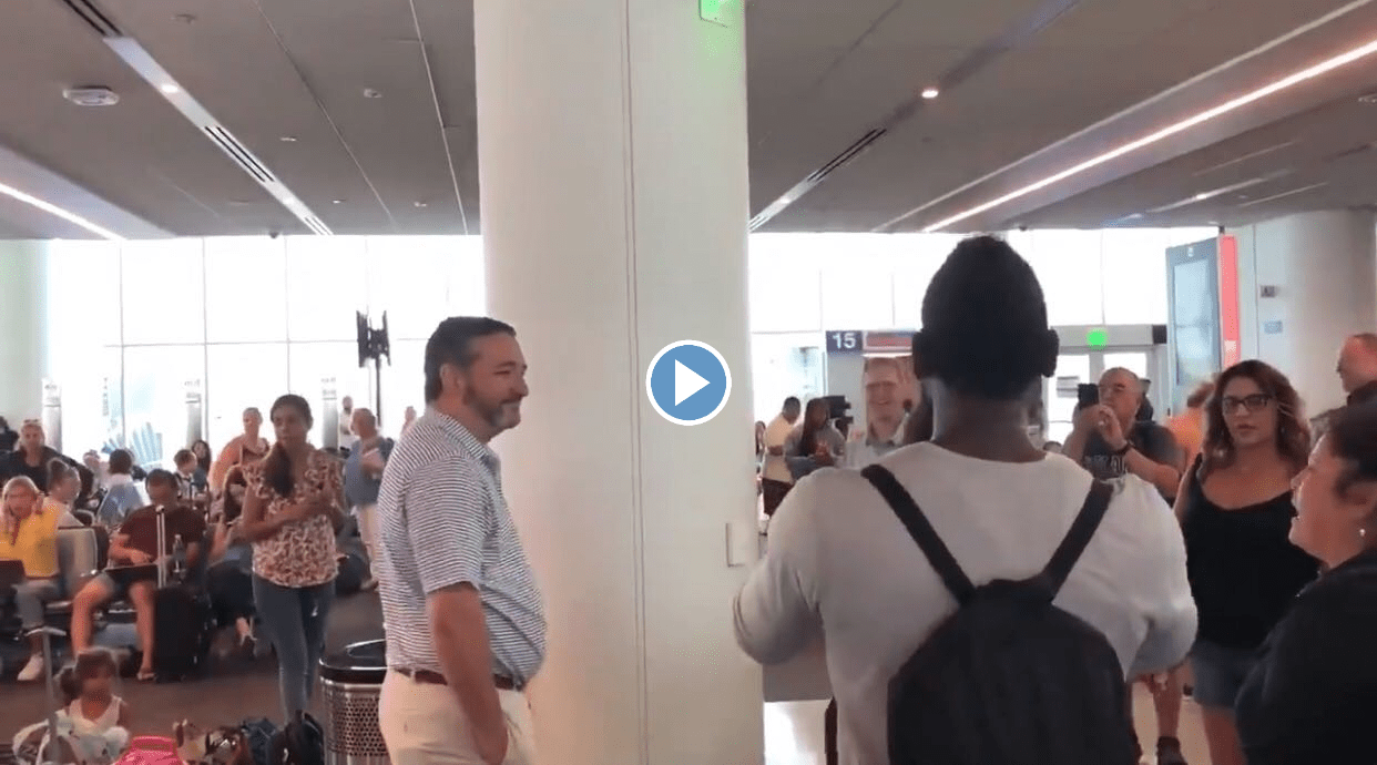 Sen. Ted Cruz Confronted By An Impromptu Crowd Of Protestors At His Terminal While In LA Airport