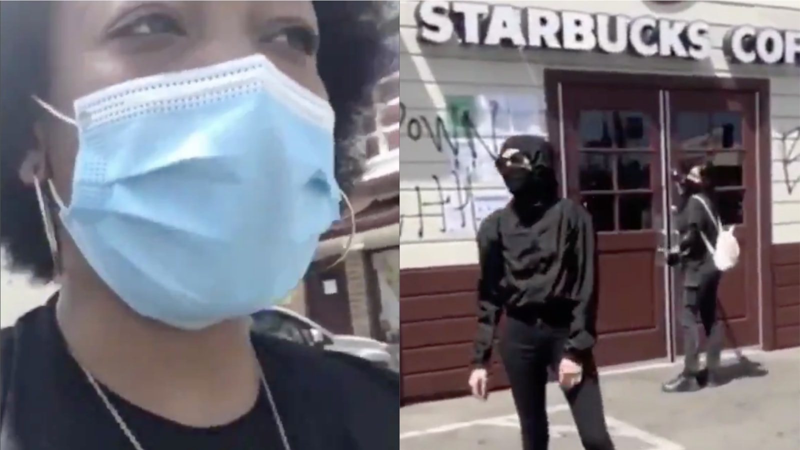 White Woman Tagging LA Starbucks With 'BLM' Confronted By Black Women: 'They Going To Blame That On Us'