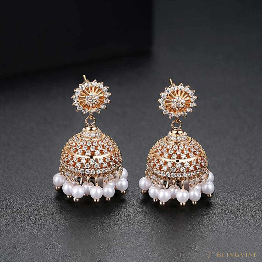 Malhar Pearl Jhumka Earrings - Blingvine