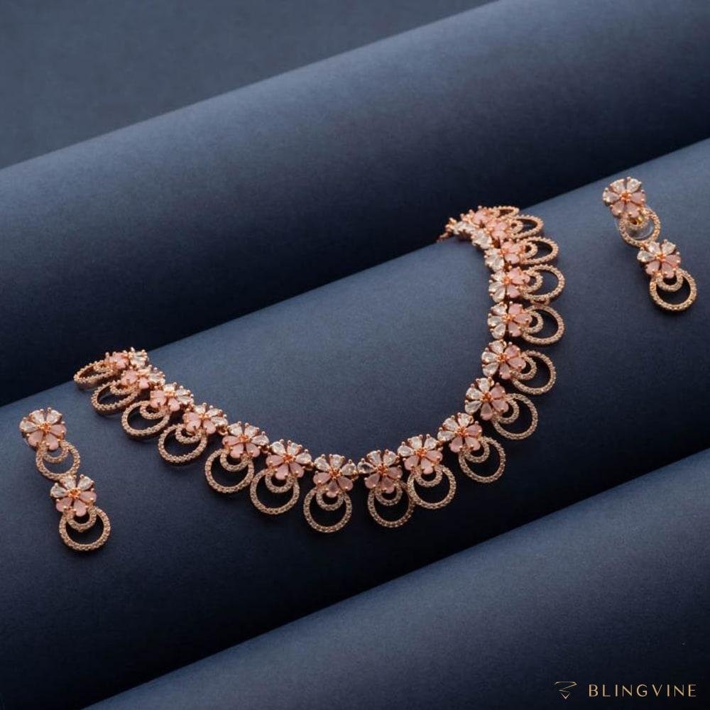 Menaka Luxury American Diamond Necklace set - Blingvine Jewelry