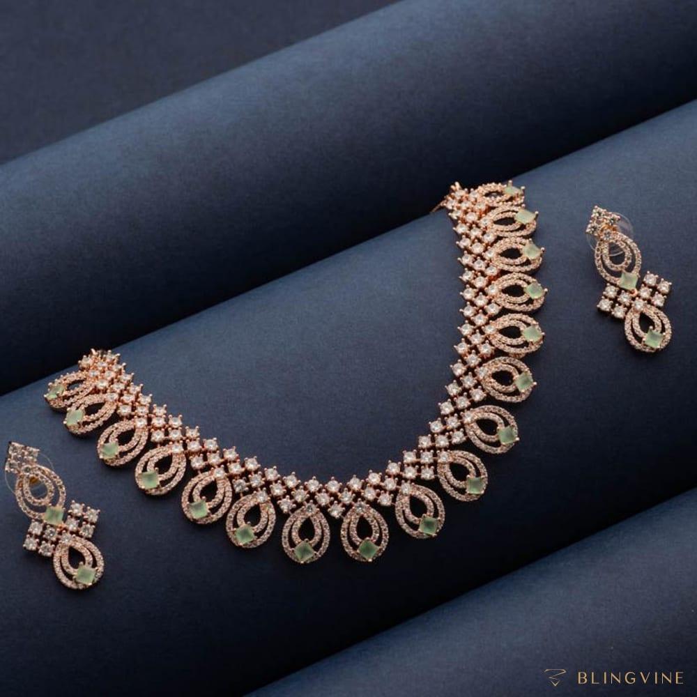 Urvashi Luxury Crystal Necklace set - Blingvine Jewellery