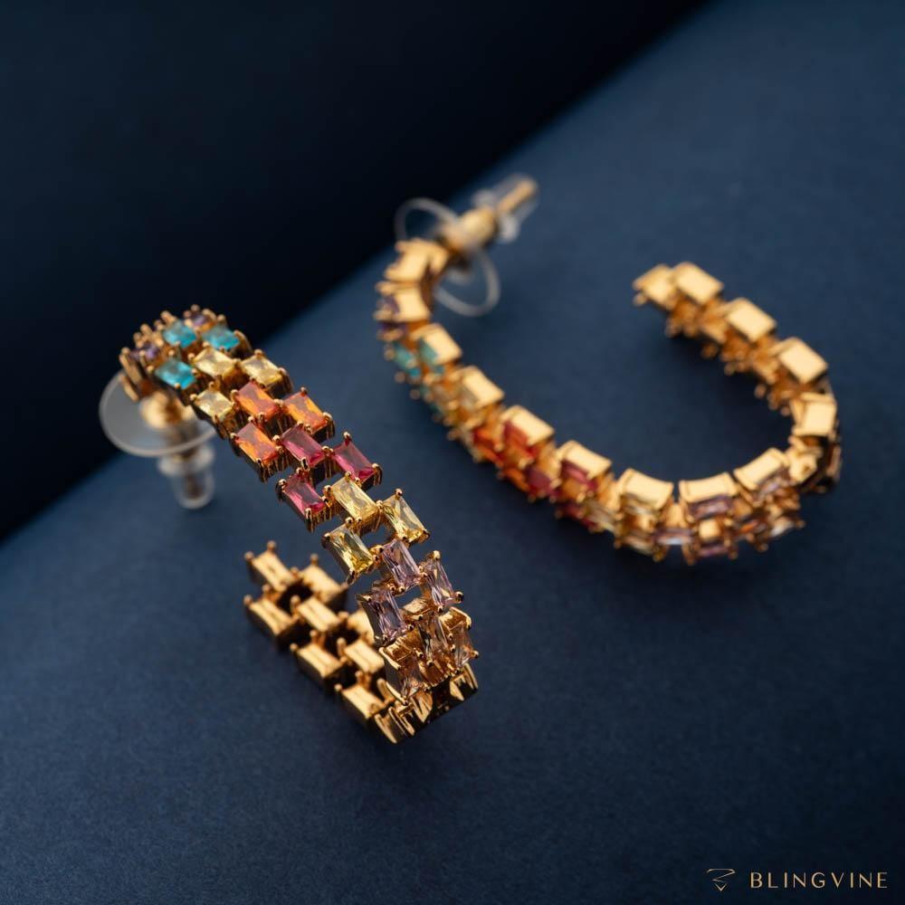 Satrangi Crystal Half Loop Earrings - Blingvine Jewellery