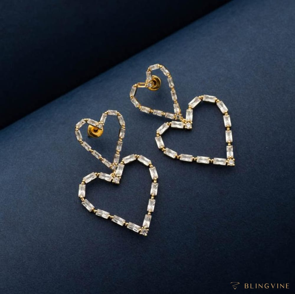Hearty Crystal Heart Earrings - Blingvine Jewelry