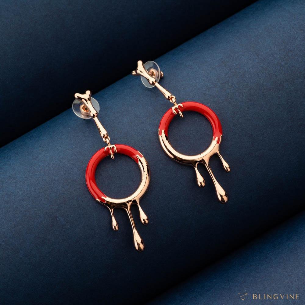 Lava Red Long Earrings - Blingvine Jewelry