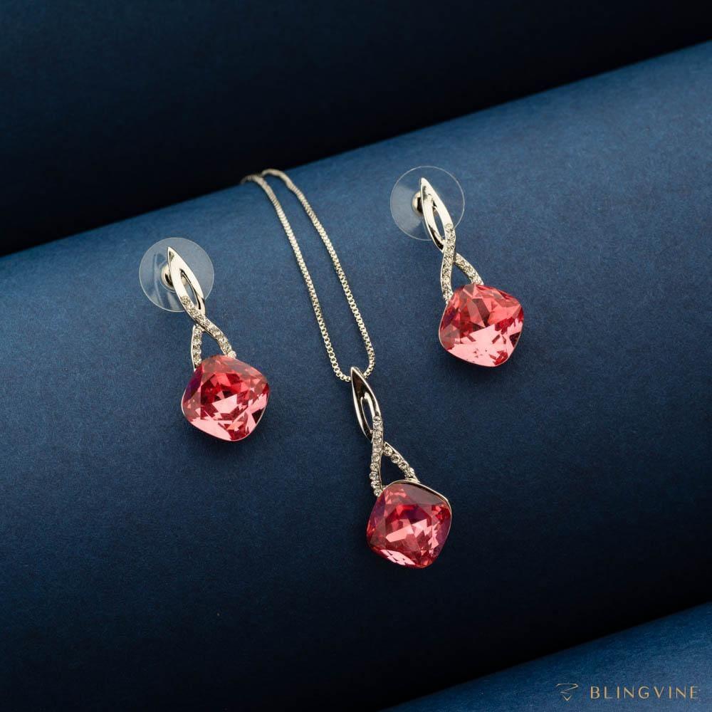 Sharon Red Crystal Pendant Necklace Set - Blingvine Jewellery