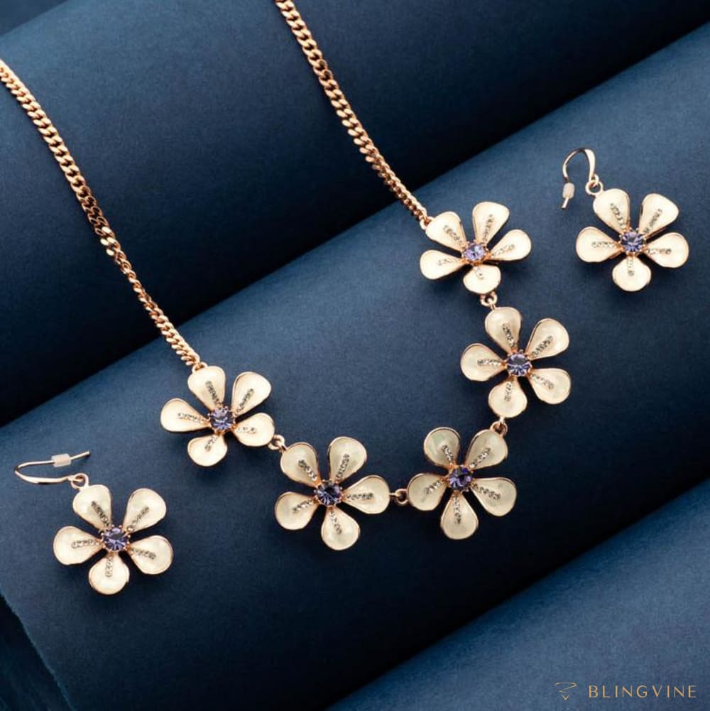Jasmine Blooms Floral Necklace Set - Blingvine Jewelry
