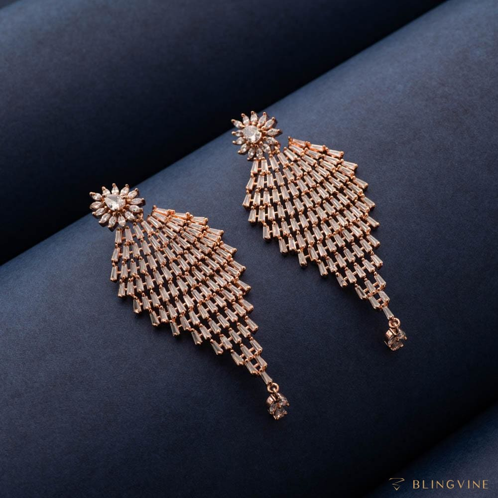 Arzoo Rose Gold Long Earrings - Blingvine
