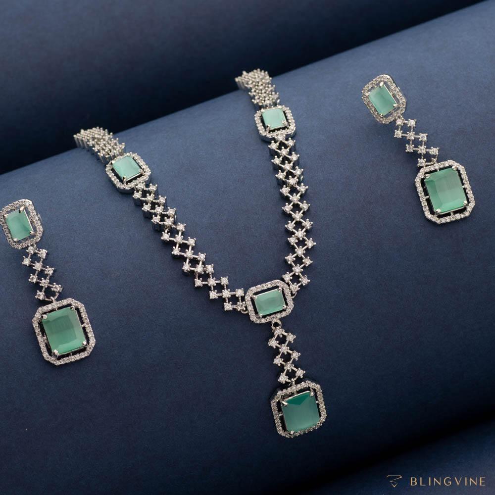 Aquamarine American Diamond Necklace Set