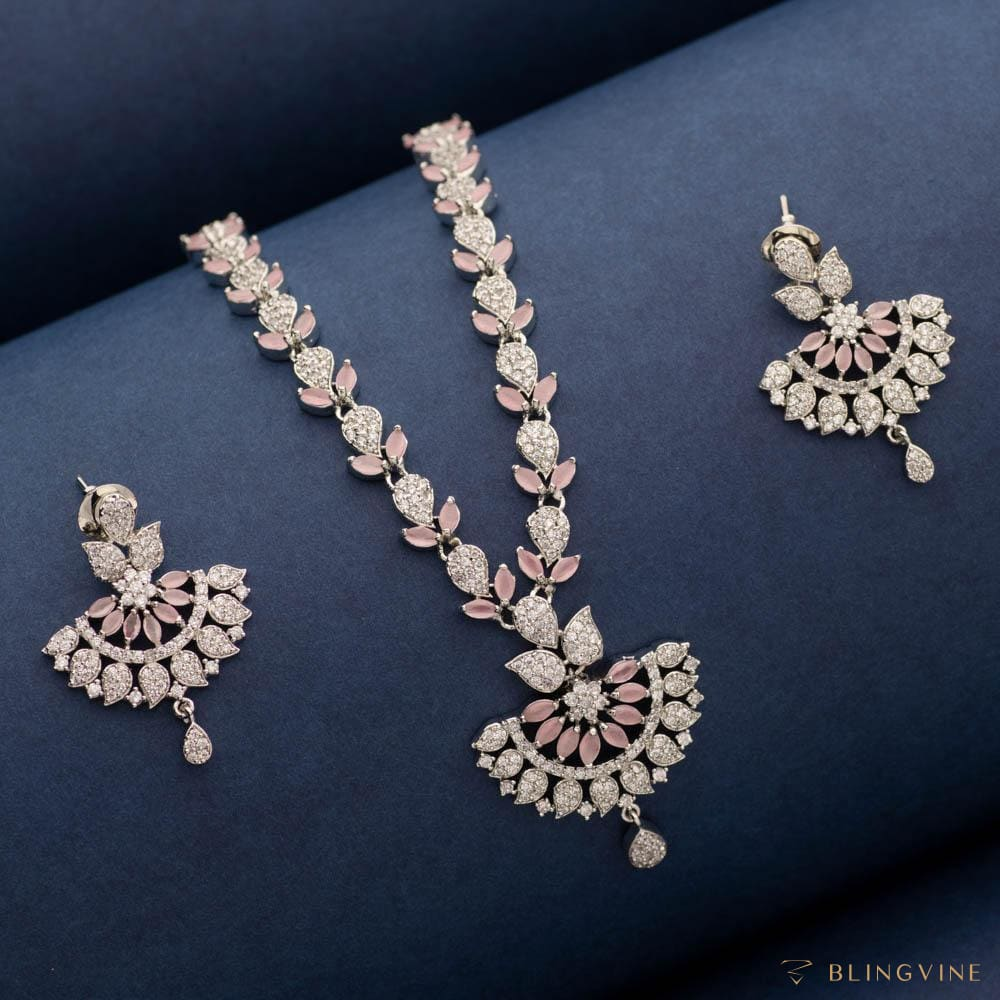 Blush Crystal Necklace Set - Blingvine