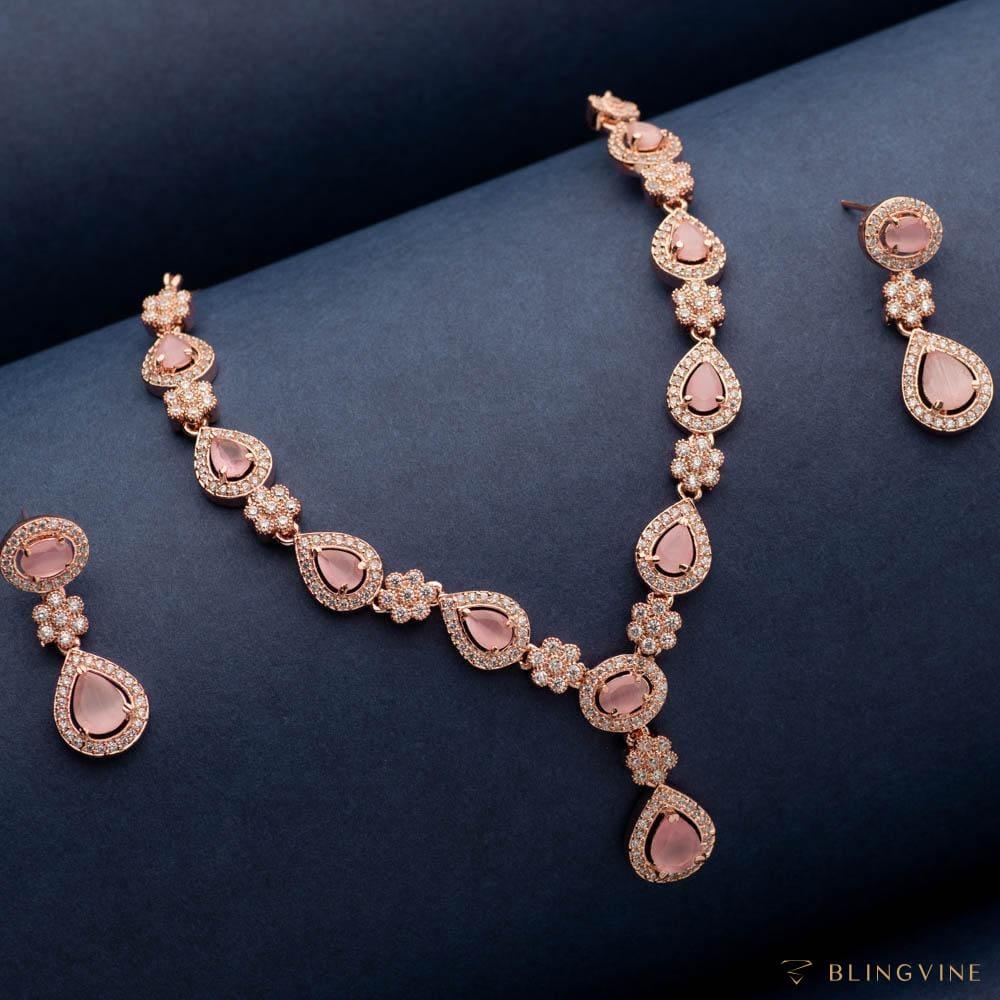 Pink Potion American Diamond Necklace Set