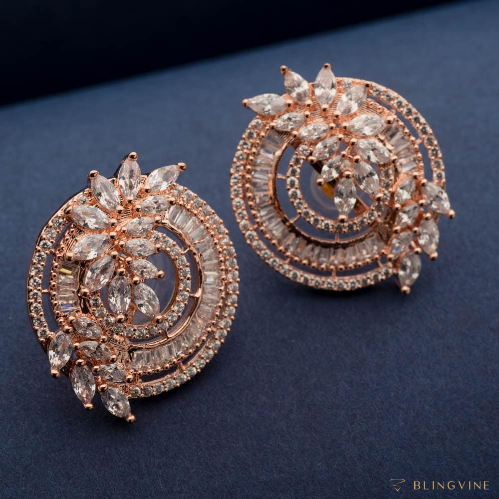 Mohena Rose Gold Stud Earrings - Blingvine