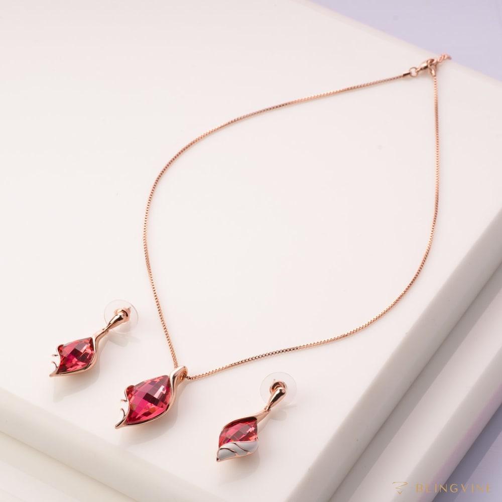 Natalia Peppy Pink Pendant Necklace Set