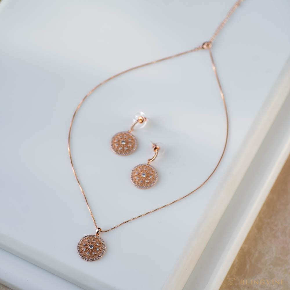Mandala Pendant Necklace Set - Blingvine