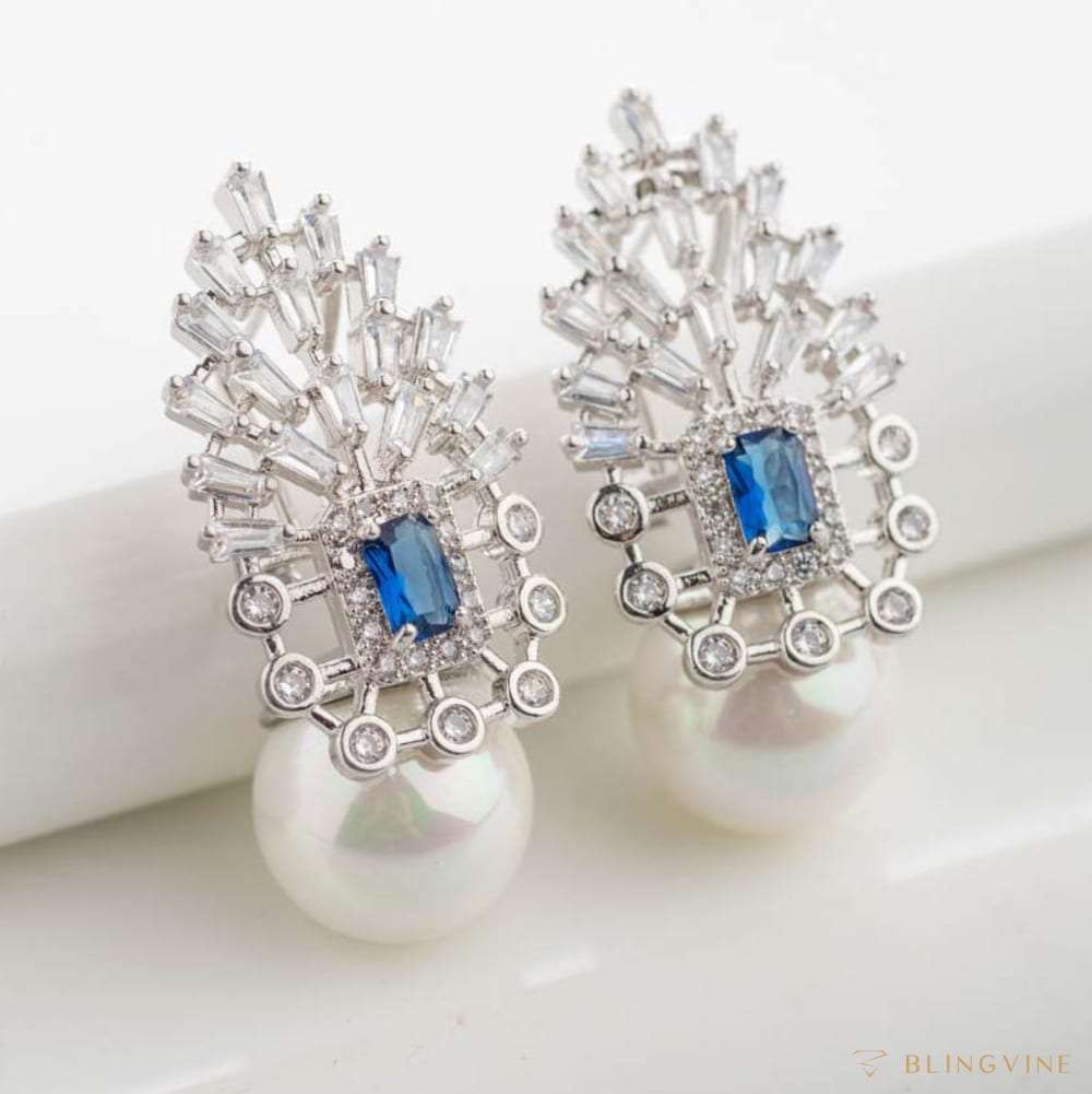 Sienna Sapphire Blue Crystal and Pearl Earrings - Blingvine