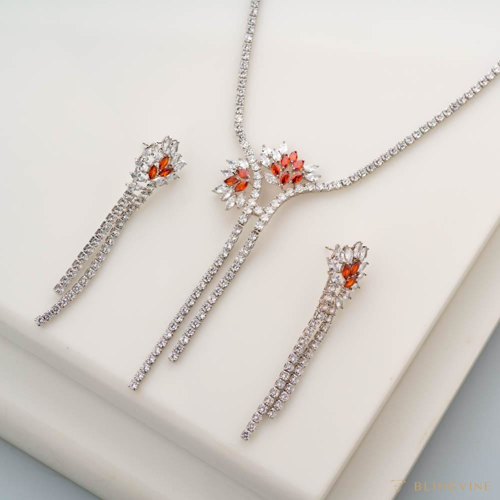Floral Burst Crystal Necklace Set - Blingvine
