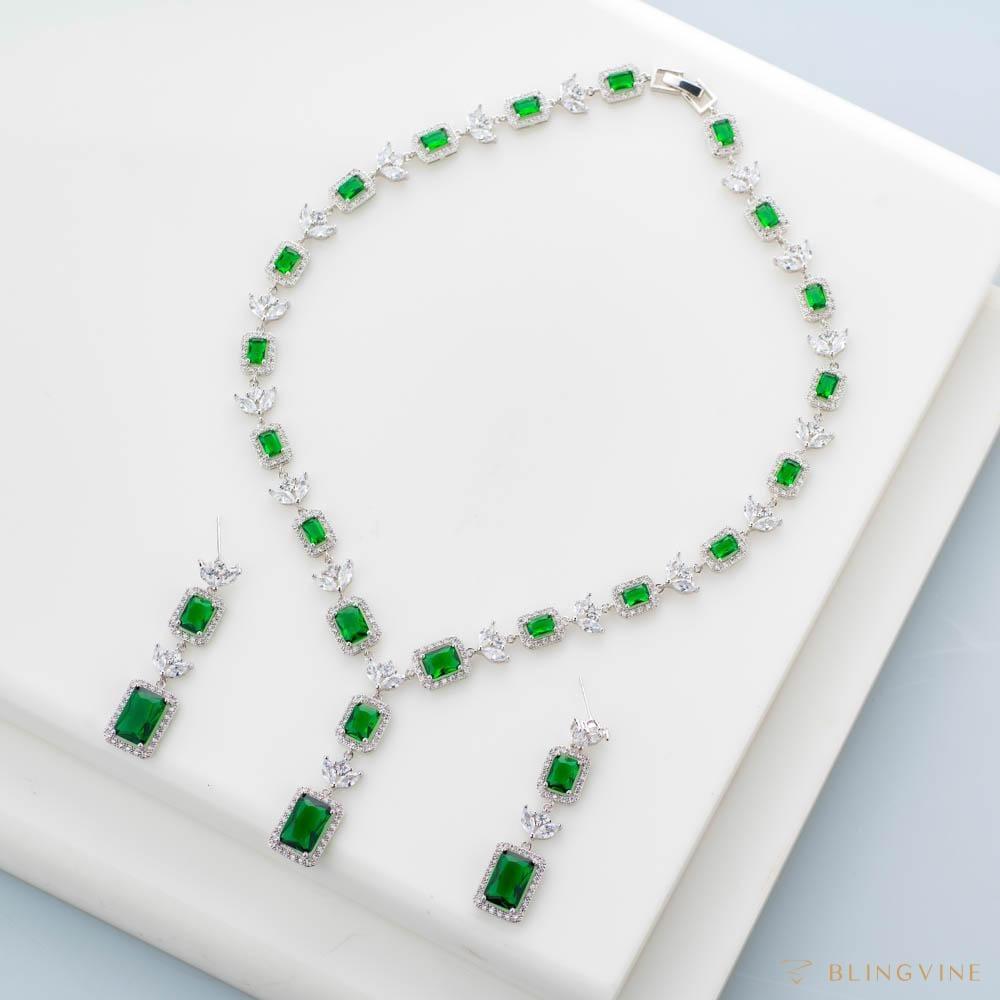 Royal Filigree Green Crystal Necklace Set - Blingvine