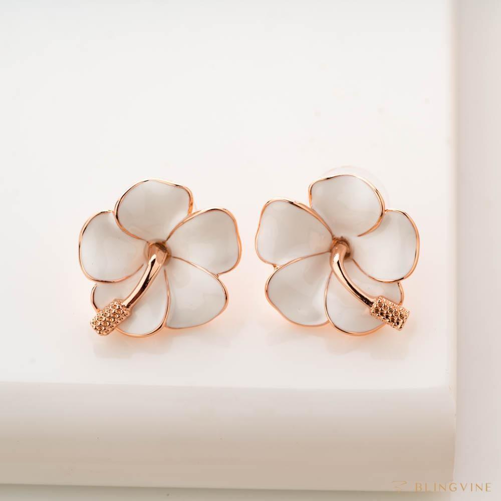 White Petunia Floral Stud Earrings