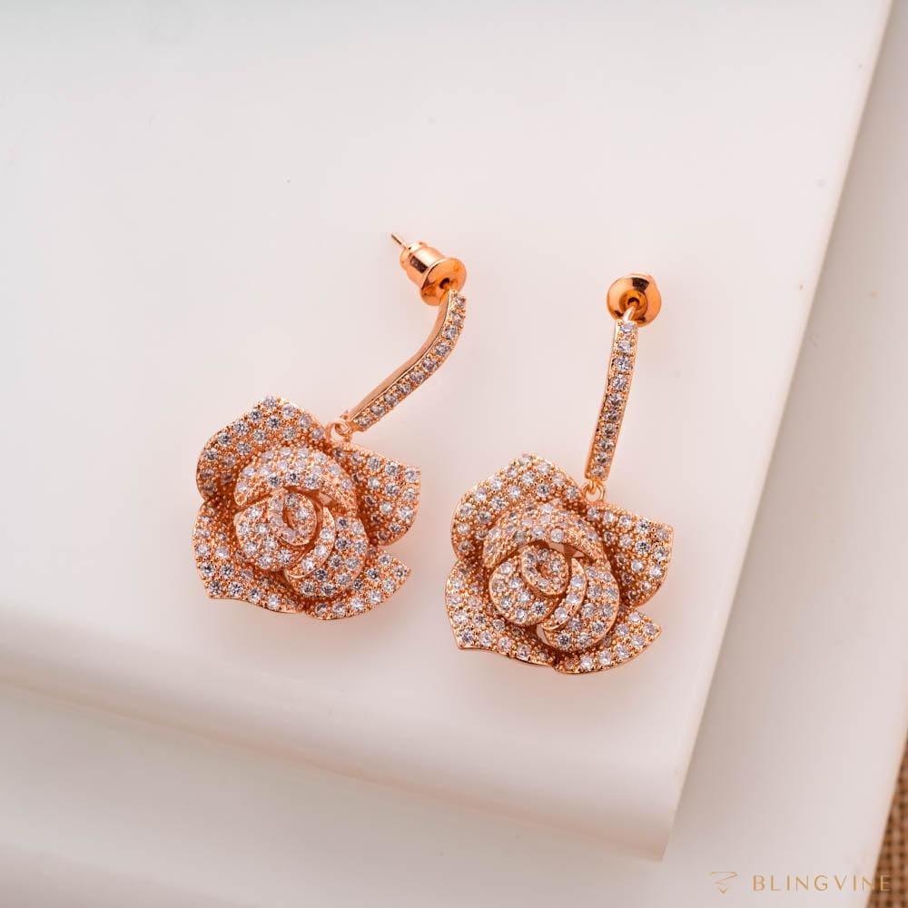 Gulabo Crystal Floral Earrings