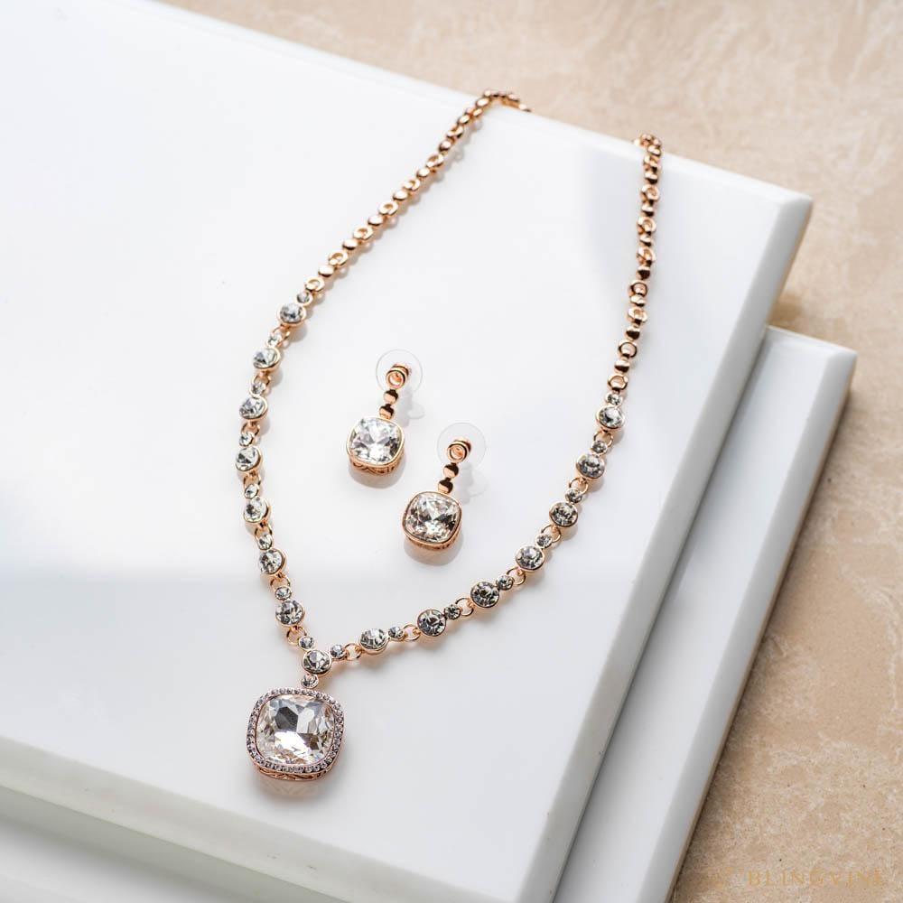 Noor Crystal Necklace Set - Blingvine
