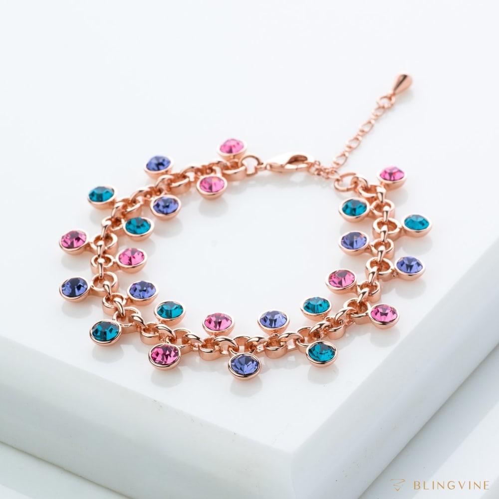 Caroline Multicolor Crystal Chain Bracelet