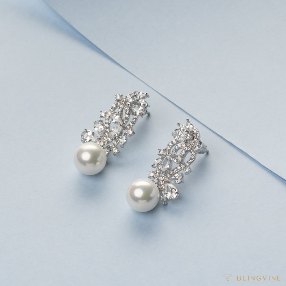 Kyrrah Crystal and Pearl Earrings