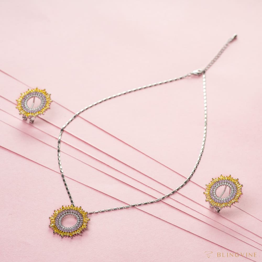 Marigold Crystal Pendant Necklace Set - BlingVine