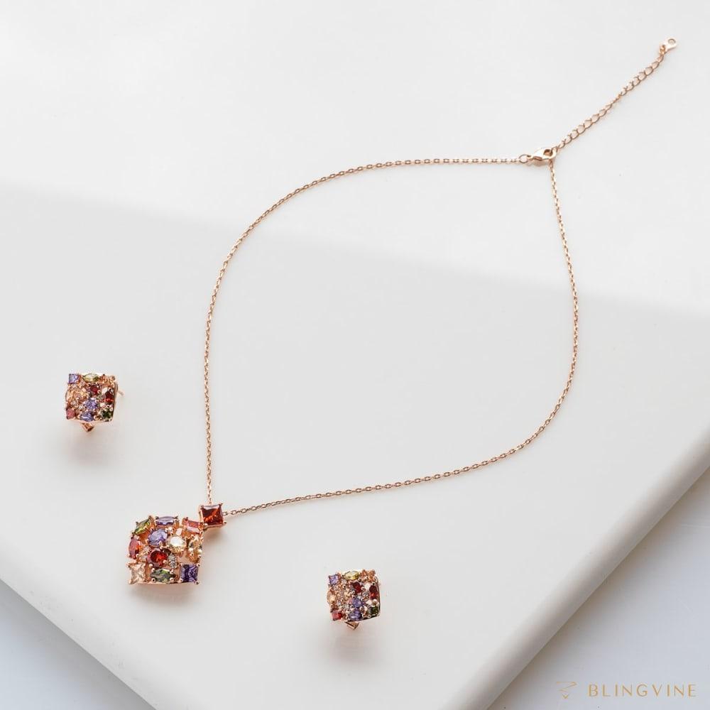 Autumn Flare Crystal Pendant Necklace Set