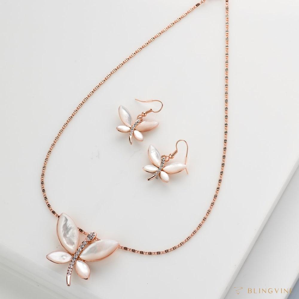 Silverfly Pendant Necklace Set - BlingVine