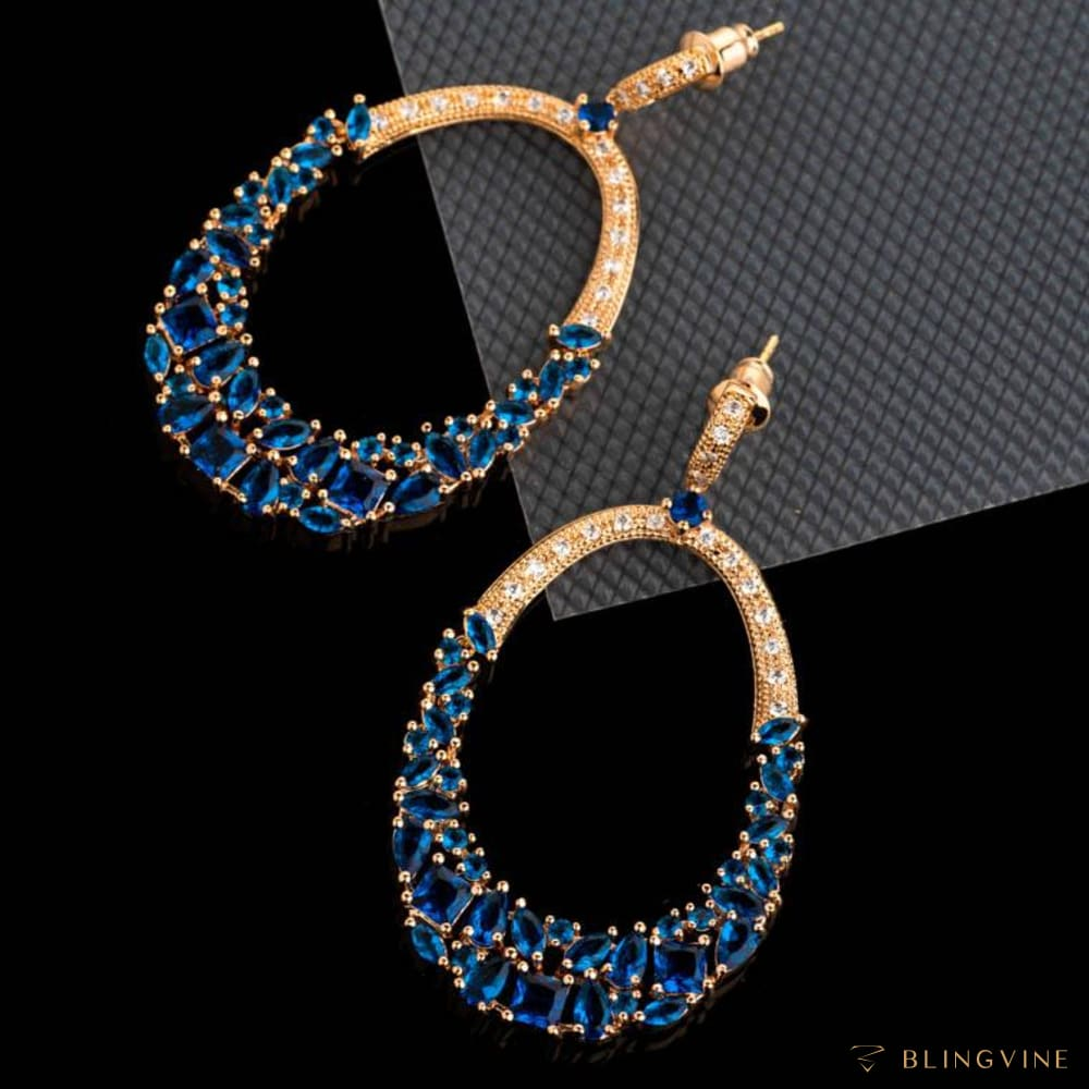 Glamista Blue Crystal Long Earrings