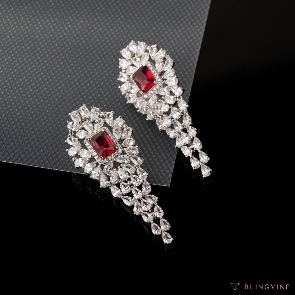 Victoria Ruby Red Crystal Earrings - BlingVine