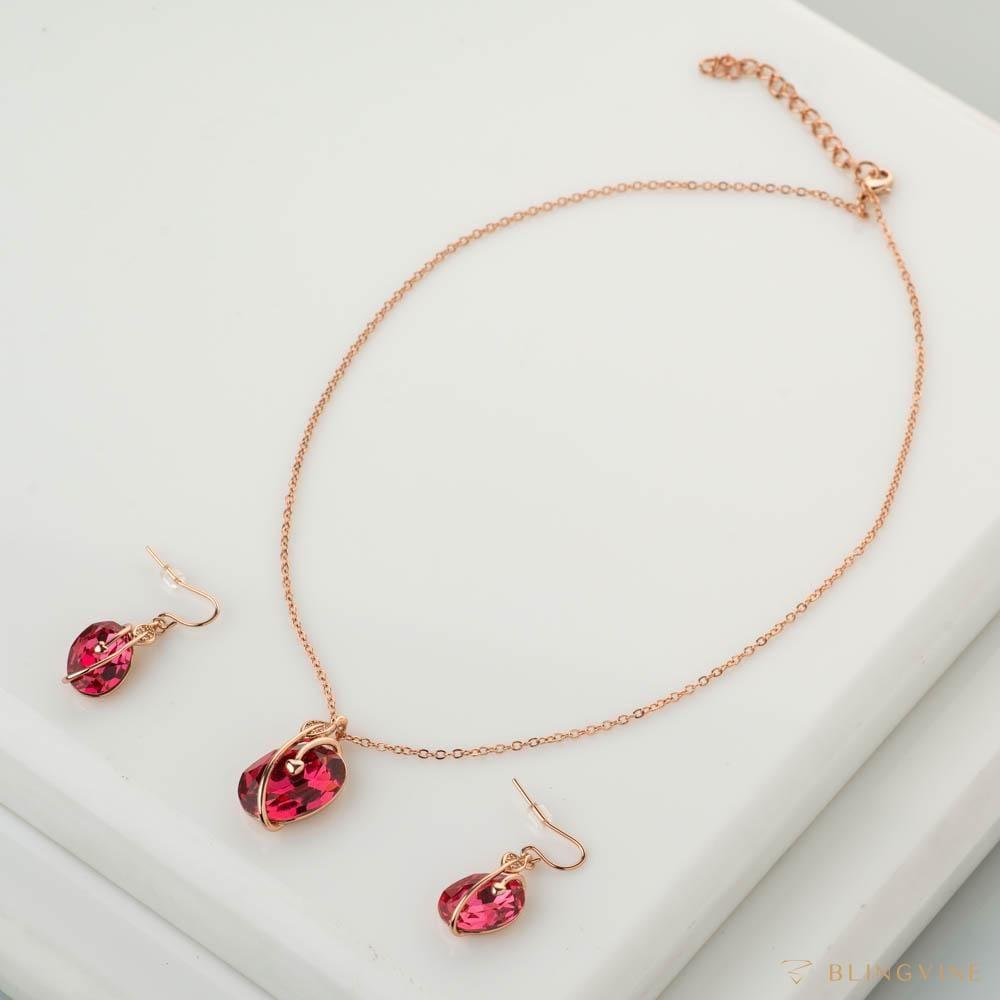 Lana Pink Pendant Necklace Set