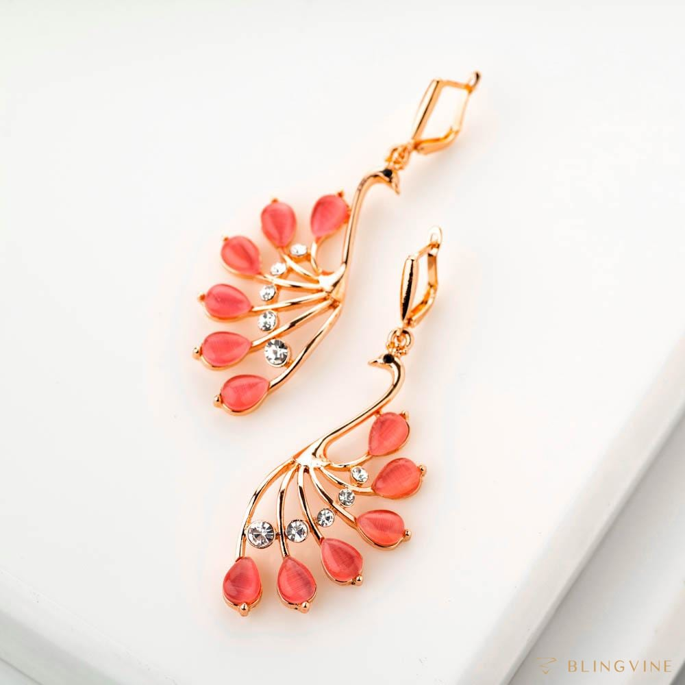 Mayur Pink Crystal Long Earrings - Blingvine