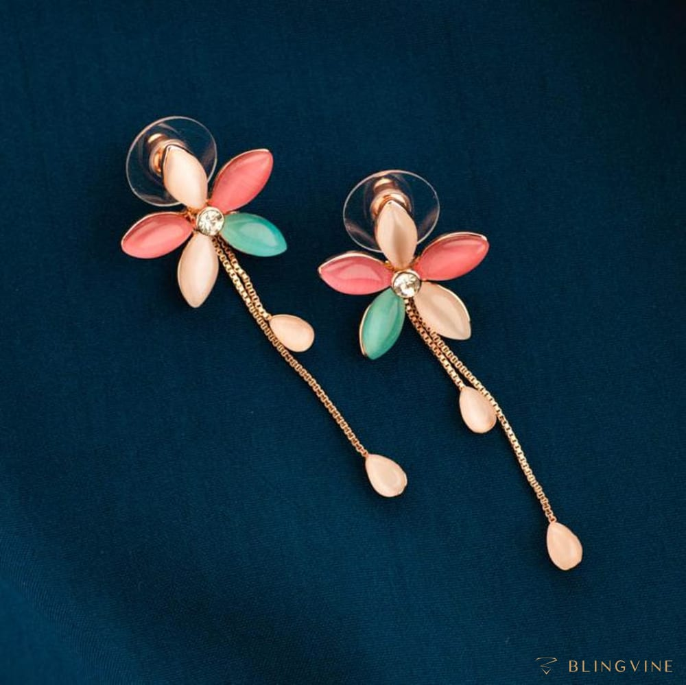 Aavika Floral Long Earrings