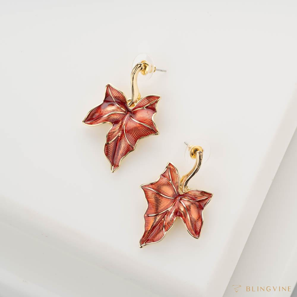 Maple Enamel Stud Earrings - Blingvine