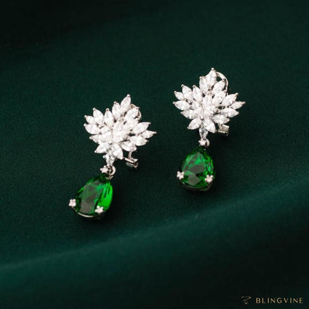 Leila Crystal Stud Earrings Green - Blingvine