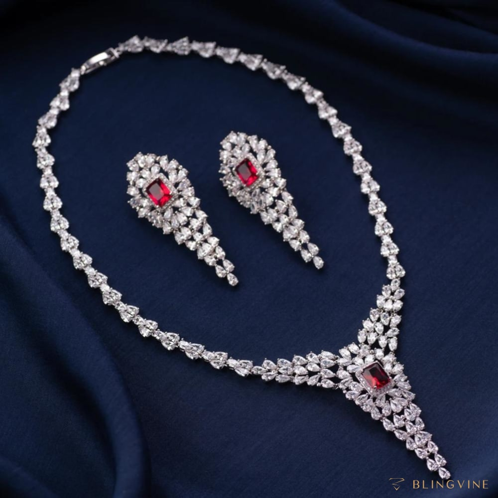 Victoria Necklace Set - Ruby Red