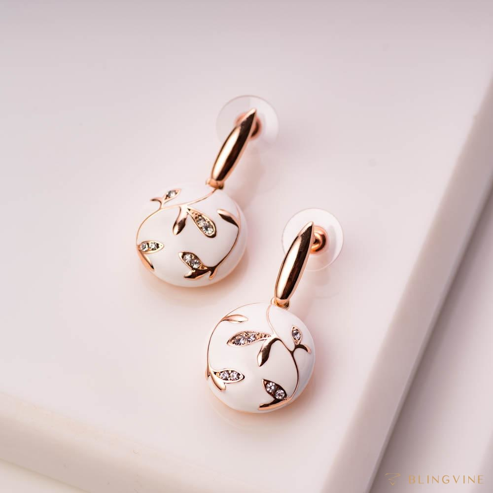 Maahiya White Enamel Earrings - Blingvine