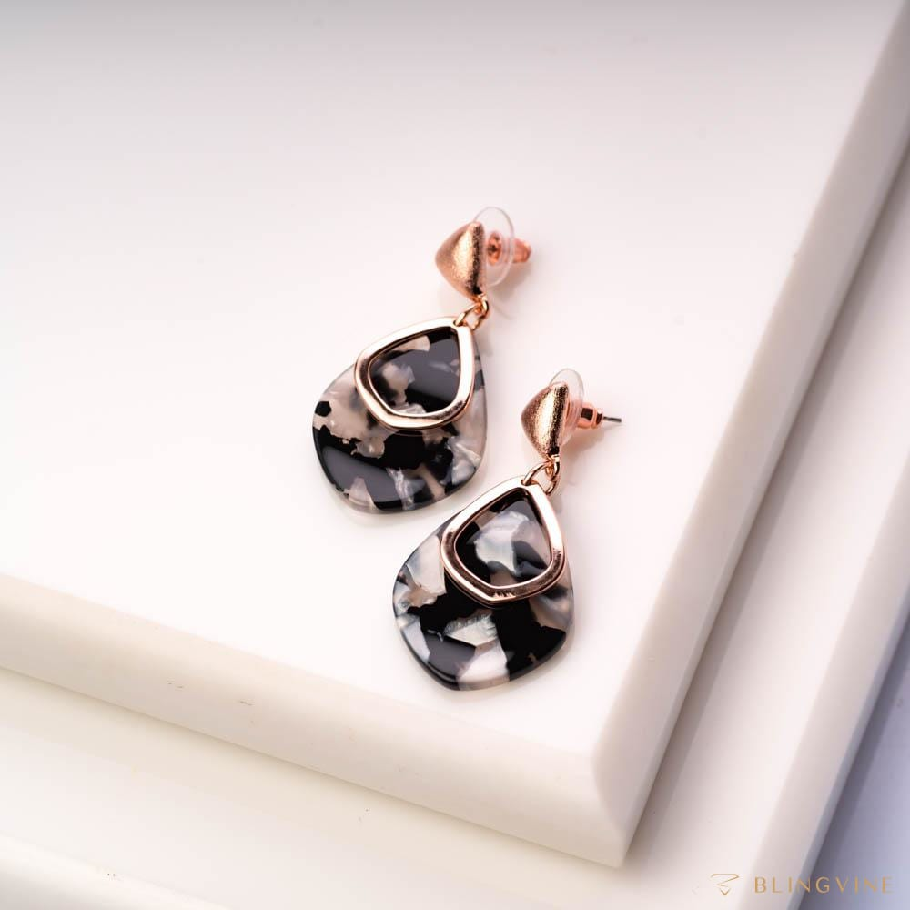 Alice Dangle Earrings - Black and Gray Mozaic