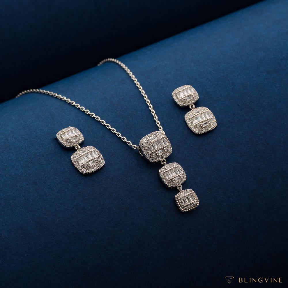 Aurelia Crystal Pendant Necklace Set - Blingvine