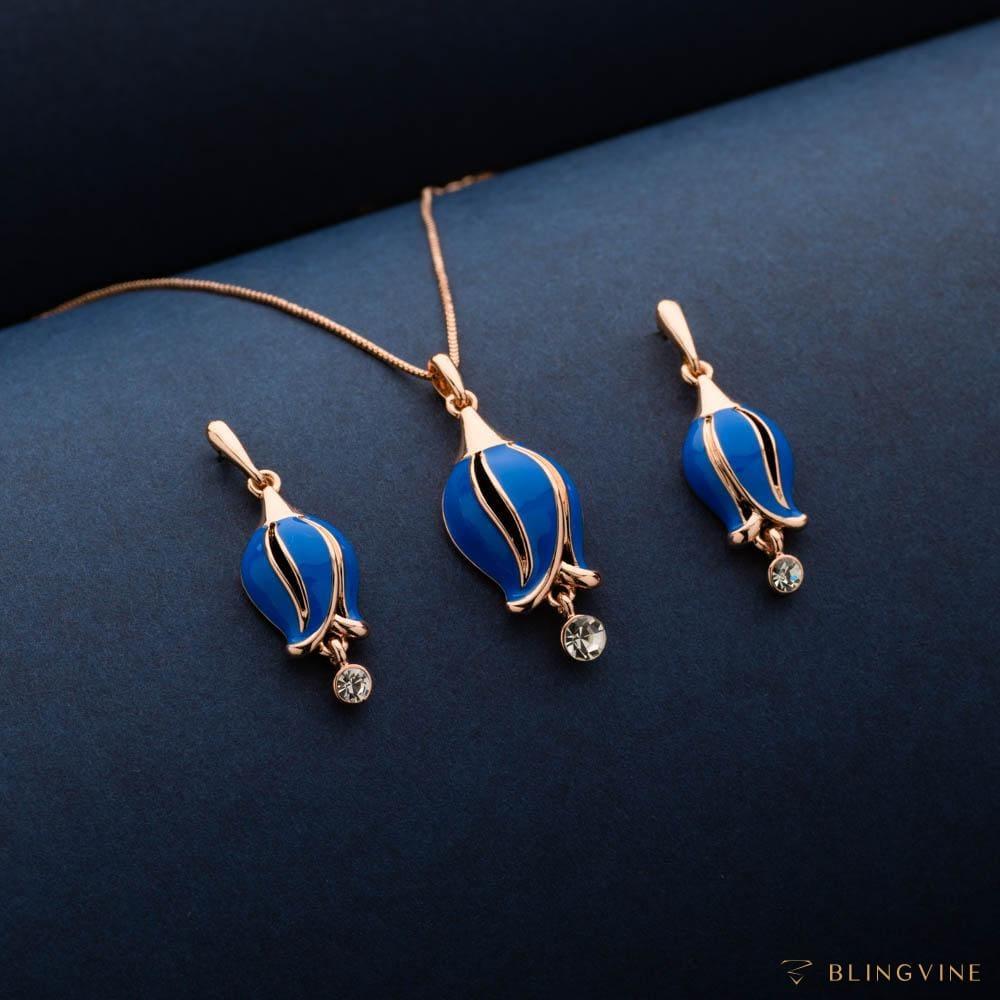 Bluebell Blue Pendant Necklace Set - Blingvine
