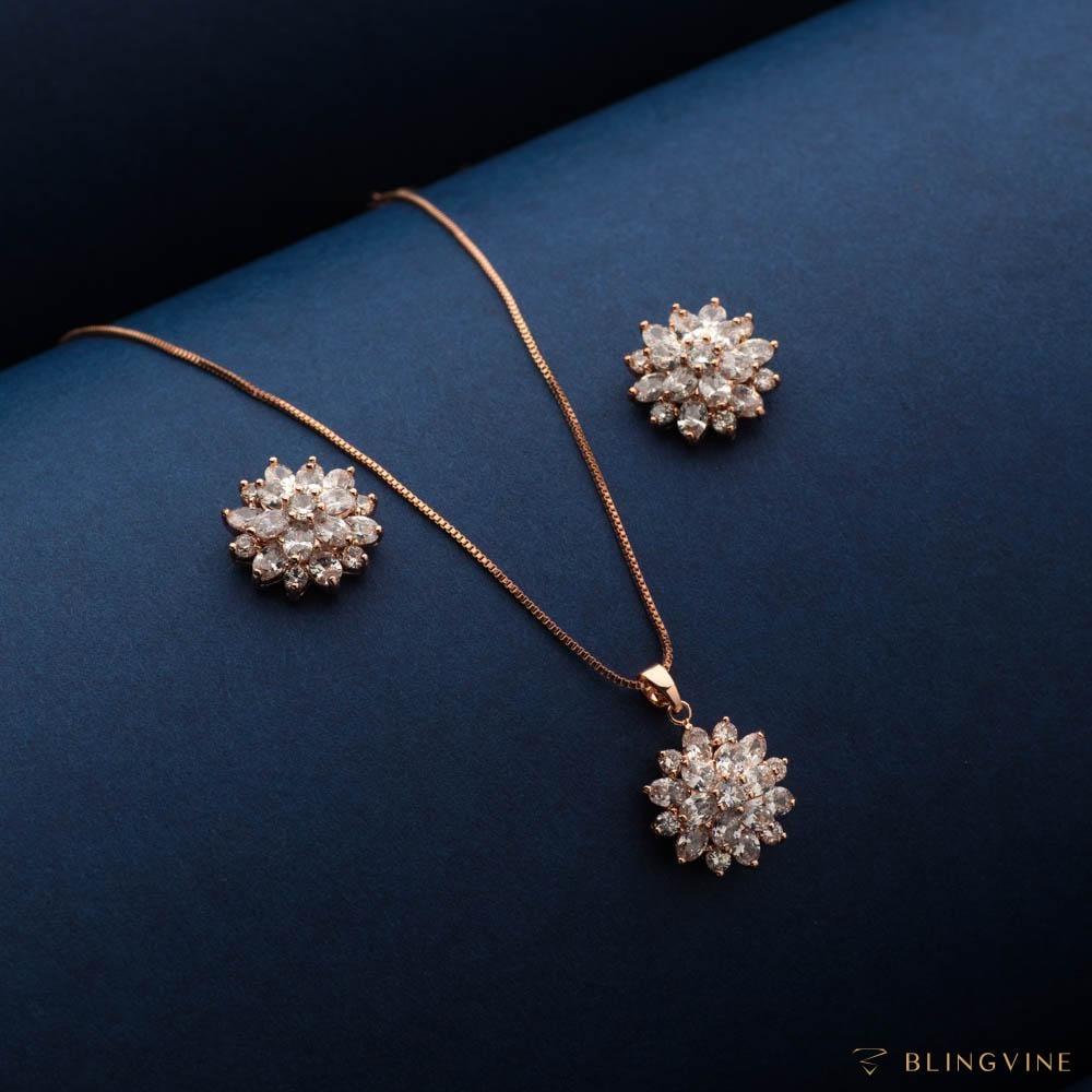 Samara Crystal Pendant Necklace Set - Blingvine