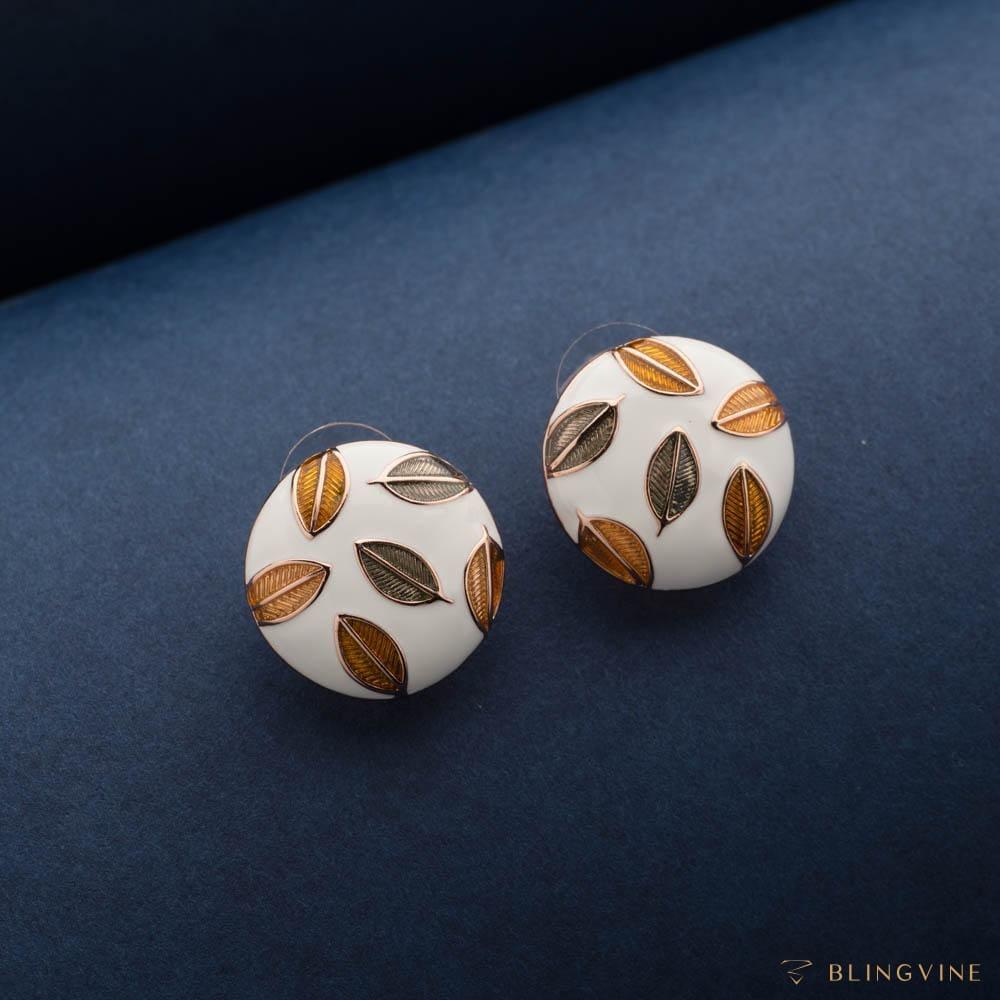 Romeo White Enamel Stud Earrings - Blingvine